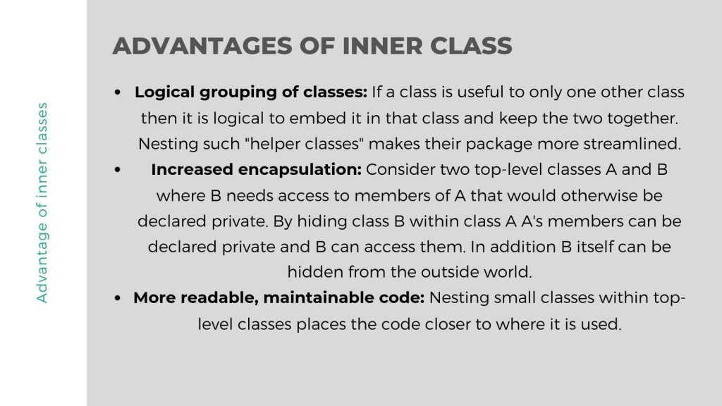 Advantages of Inner class