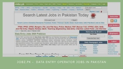 Jobz.pk Data Entry Operator Jobs in Pakistan